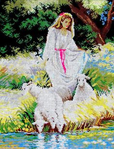 50%OFF//NEEDLEPOIN CANVAS// by Tapex Vienna. A Vintage Canvas of  a Shapherdess Watering the Sheep in the River//Was (300.00 Dollars) Now!!
