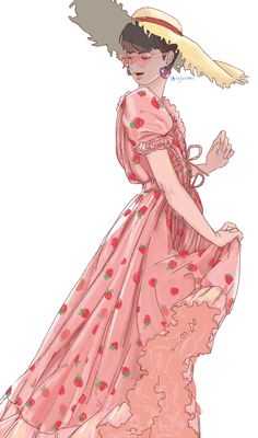 Strawberry Drawing, Strawberry Dress, Cute Strawberry, Elf Art, Anime Dress, Dress Drawing, Fanart, Anime Angel, Poses