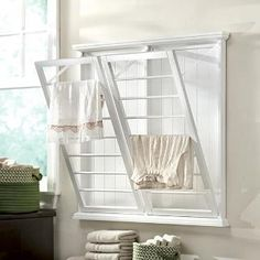 Madison Wall-Mounted Laundry Drying Rack - Towel Racks - Bathroom Organization - Bath | HomeDecorators.com
