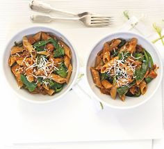 A low-fat supper of tasty tomato sauce and penne - wilt down a whole bag of spinach for extra nutrients