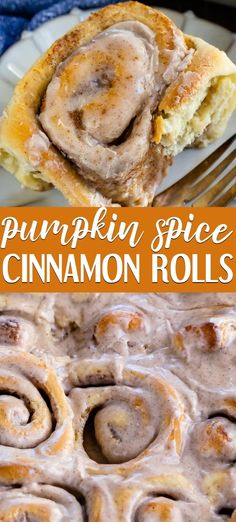 Pumpkin Spice Cinnamon Rolls are a homemade cinnamon roll that& easy to make from scratch! The soft yeast dough is filled with pumpkin pie spice and the frosting is full of pumpkin spice too! ANYONE can make these rolls at home! Breakfast Recipes, Dessert Recipes, Fall Desserts, Recipes Dinner, Breakfast Pastries, Party Recipes, Muffin Recipes, Bread Recipes, Baking Recipes