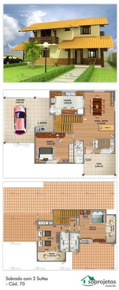 Casa com duas suítes e um quarto. Possui sala de estar e jantar conjugados. Varanda-Garagem com área de 33,97 m², e uma sacada para cada suíte. Telhado em telha de barro.