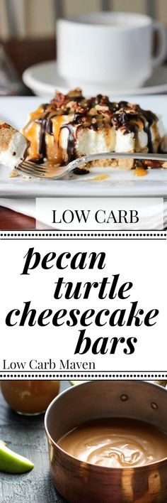 Pecan Turtle Cheesecake Bars are sugar free & keto
