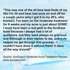 An amazing review from Sophia, who calls AcnEase one of the all-time best finds of her life! www.acnease.com