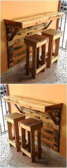 This is artistically constructed pallets wood breakfast table, crafted to provide your kid's a wonderful place so that they can do their breakfast easily. This wooden table with two medium-size wood pallets benches seems attractive and unique as shown in the picture given below. #palletfurniture