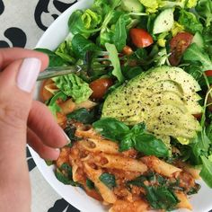 "jiliciousjourney: "" Pasta, greens and creamy avo ❤️ #best """