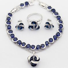 Charms 925 sterling-silver-jewelry Women Jewelry Sets Blue Imitated Sapphire Necklace Pendant Drop Earrings Rings Bracelet