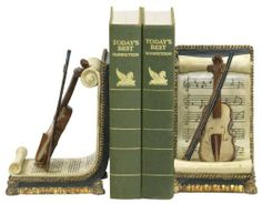Sterling Home 91-1613 Pair of Bookends, Violin and Sheet Music, 7-1/2-Inch Tall by Sterling Home. $54.00. Great gift for musician, music teacher, or music fan. Composite materials, hand-painted with antiqued finish. Bookends are 11-inches x 4.5-inches x 7.5-inches tall. Felt bottoms to protect furniture. Pair of Bookends with scrolled sheet of music adorned with detailed violin and bow. Keep books in place, add decorative style, share your appreciation of music, or do all three...