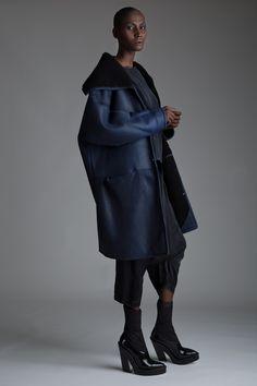 Vintage Dorothee Bis Shearling Coat, Joan Vass Harem Pants and Pauw Blouse Designer Vintage Clothing Dark Minimal Fashion
