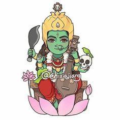 Saraswati Goddess, Durga Maa, Shiva Shakti, Divine Goddess, Kali Goddess, Kali Hindu, Hindu Art, Durga Painting, Rath Yatra