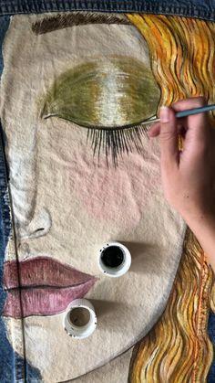 Hand painted custom denim jacket Gustav Klimt Golden tears ( read the description ! Painted Denim Jacket, Painted Jeans, Painted Clothes, Hand Painted, Gustav Klimt, Diy Jeans, Fabric Painting, Diy Clothes, Diy Fashion