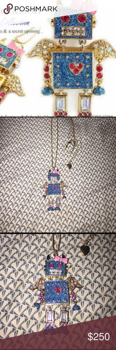 Betsey Johnson fairyland necklace RESERVE. Betsey johnson robot necklace. This is from the fairyland collection. The gorgeous necklace is of a robot. The robot is a winged rhinestone robot. Super rare. Betsey Johnson Jewelry Necklaces