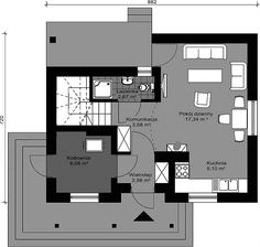 Rzut parteru projektu Deko w2 Bonsai, Floor Plans, Deco, Projects, Bonsai Trees, String Garden