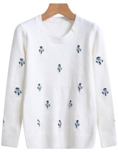White Long Sleeve Snowman Embroidered Sweater 26.67