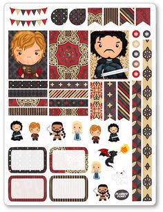 Thrones Decorating Kit / Weekly Spread Planner Stickers for Erin Condren…