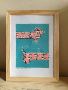 Sausage dog linocut print A4 by PrintsbyLucyPerry on Etsy