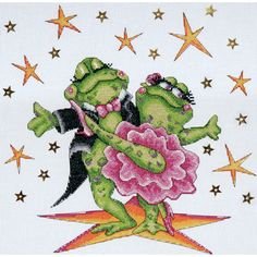 Cross Stitch Dancing Frogs