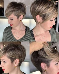 Pixie Hairstyles for the Best View - The UnderCut Pixie Hairstyles for the Best View. Pixie hairstyles have been mainstream among ladies for a long time. This a la mode haircut with a short Pixie Bob Haircut, Haircut For Thick Hair, Short Pixie Haircuts, Haircuts With Bangs, Cute Hairstyles For Short Hair, Female Hairstyles, Latest Hairstyles, Undercut Hairstyles, Shaved Hairstyles