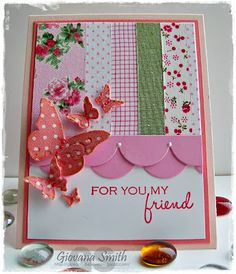 Pretty card using fabric tapes