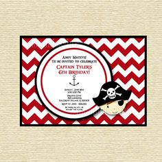 Chevron Pirate Birthday Invitation  - PRINTABLE INVITATION DESIGN by MommiesInk on Etsy https://www.etsy.com/listing/150229416/chevron-pirate-birthday-invitation