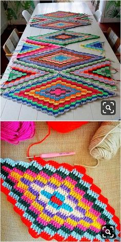 Multicolor Table Mat Crochet Free Pattern Knit blankets are one of our favori. - Multicolor Table Mat Crochet Free Pattern Knit blankets are one of our favorite weaves that we s - Crochet Motifs, Crochet Stitches Patterns, Crochet Squares, Crochet Designs, Stitch Patterns, Knitting Patterns, Pattern Designs, Crochet Home, Diy Crochet