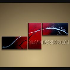 Huge Modern Textured Painted Wall Art Artist Oil Painting Stretched Ready To Hang Abstract. This 3 panels canvas wall art is hand painted by D.Lee, instock - $138. To see more, visit OilPaintingShops.com