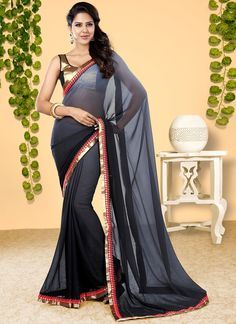 Famous designers tend to give reign to their imagination and create clothes that look interesting and guided by the desire to attract attention. Look stunningly beautiful in this black georgette desig...