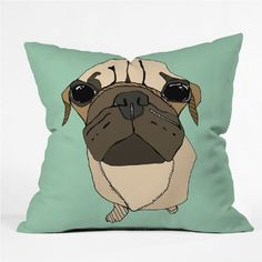 DENY Designs Casey Rogers Puglet Throw Pillow 16 x 16 ** Want to know more, click on the image.