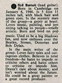 Syd Barrett profile during his Pink Floyd days.