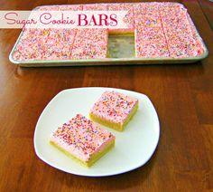 Sugar Cookie Bars - a Lofthouse Sugar Cookie copycat recipe, but in bar form! #copycat #dessert #foodfolksandfun