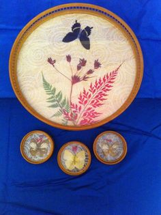 4 pc Set w/ Bamboo Serving Tray & Coaster Set w/ Butterfly Inlay ~ Vtg HIMARK