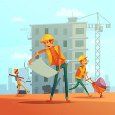 Buy Building And Construction Industry Illustration by macrovector on GraphicRiver. Building and construction industry cartoon background with workers tools and equipment vector illustration. Drawing Cartoon Characters, Character Drawing, Cartoon Drawings, Engineer Cartoon, Cartoon Building, Cartoon Background, Art Background, Vector Art, Vector Illustrations