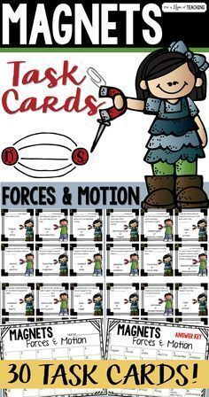 Magnets Task Cards (Forces & Motion works great as a review of magnets. You could use it as student desk work, center work, or as a Scoot game.   Includes 30 task cards, student recording sheet, and answer key.