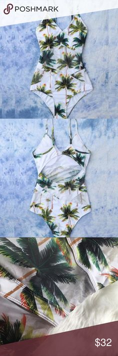 White palm tropical mesh one piece swimsuit  Brand new boutique item   White tropical palm tree leaf banana leaf mesh one piece swimsuit monokini   If you're unsure of what size to purchase, comment your Jean size & bra size you typically wear. I will give you a size recommendation. :)  Some photos are my own, please do not steal.   If you have any questions, please do ask!        Flovvers Boutique Swim One Pieces