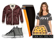 Tricky Trend by sherrykaydesigns on Polyvore featuring Chaser, Scotch & Soda, River Island, Converse, Feather.M, TrickyTrend, colorblock, sneakers and pencilskirt