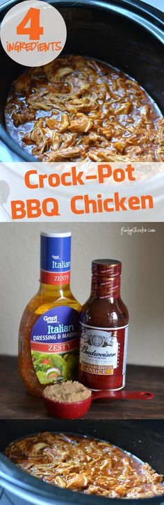 Crock Pot BBQ Chicken - Only 4 Ingredients. Eat it plain, put it on a bun or load a baked potato!