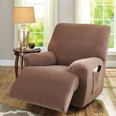 Better Homes and Gardens One-Piece Stretch Fine Corduroy Recliner Slipcover, Brown