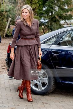 Queen Maxima visits the Windmill park Nijmegen-Betuwe in Nijmegen on January 31, 2017 in Nijmegen, The Netherlands. The park is an initiative owned by private citizens through the local cooperative, Windpower Nijmegen. (Photo by Patrick van Katwijk/Getty Images)