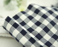 Cotton Linen Plaid Pre-washed - Dark Navy - By the Yard 63696