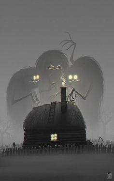 Twilight - 2 hour digital painting by concept artist Denis Zilber Art And Illustration, Art Illustrations, Monster Illustration, Halloween Illustration, Arte Horror, Horror Art, Fantasy Kunst, Fantasy Art, Denis Zilber
