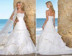 Elegant Taffeta Strapless Sleeveless A-line Asymmetrical Beading Chapel Train Bridal Wedding Dress