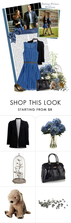 """#29 Dating prince William of England"" by always-a-dreamer ❤ liked on Polyvore featuring Band of Outsiders, Zara, L.K.Bennett, Aubrey, kate middleton, blazer, prince william, blue, wedges and pleat dress"