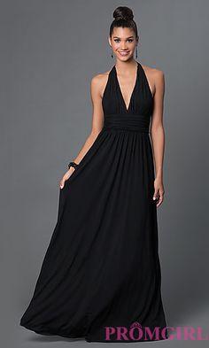 Low V-Neck Black Jersey Halter Prom Dress at PromGirl.com