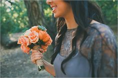 gray bridesmaid dresses.. and love the orange bouquet with the burlap twine!