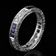 Art Deco Style Platinum Diamond Sapphire Wedding Eternity Band Ring......