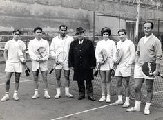 José María Mateo, Juan Antonio Iranzo, Fernando Pardo, Luis Bandrés, Pili Yarza, Iranzo and Santiago Fernando Teixeira. Zaragoza Tennis Club, Spain, 1965.