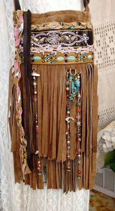 Handmade Tan Brown Suede Leather Fringe Cross Body Bag Hippie Boho Purse tmyers #Handmade #CrossBody
