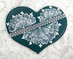 Hand Painted Dark Teal MUD Floral Cookie with Rhinestone Bling 13. $27.50, via Etsy.