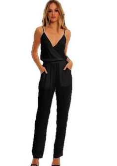 Shimmer Spaghetti Strap V-Neck Jumpsuit with Tapered Leg & Pocket