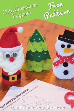 These cute Christmas puppet patterns are easy to make and are sure to give hours of playtime to your kids. Christmas And New Year, Christmas Crafts, Christmas Tree, Christmas Ornaments, Puppet Patterns, Puppets, Free Food, Free Printables, Snowman